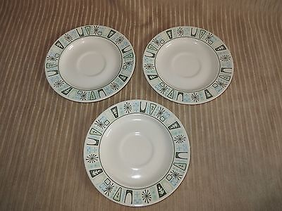 """3 Taylor Smith&Taylor Taylorstone CATHAY 6-5/8"""" Saucers Atomic Mid-Century"""