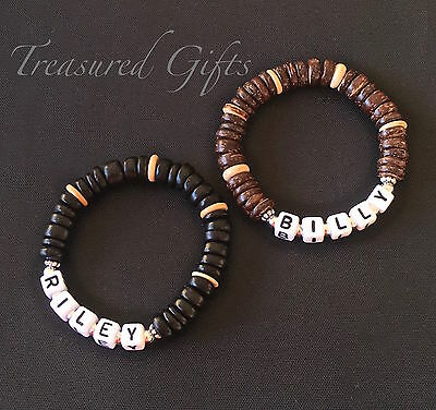 Boys Personalised Child Adult Name Bracelet Brown Black Coco beads Party Favour