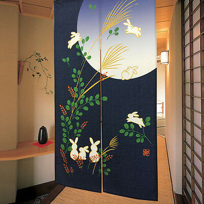 Japanese Noren Room Divider Curtain Blue Moon White Rabbit Doorway Tapestry
