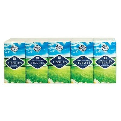 10 Packs Of 3 Ply 10 Pocket Tissues Soft & Strong White COME IN RETAIL PACK-NEW