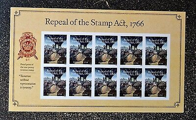2016USA #5064 Forever - Repeal of the Stamp Act, 1766 - Souvenir Sheet of 10