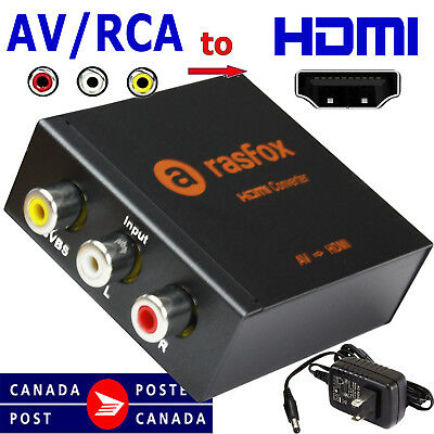 AV CVBS RCA Video Audio to HDMI Female Converter Adapter Box Upscaler 1080P