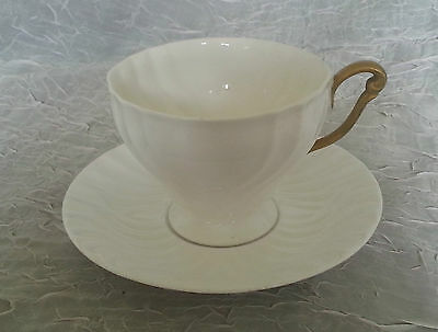 Queen Anne fine bone China, white and gold teacup and saucer