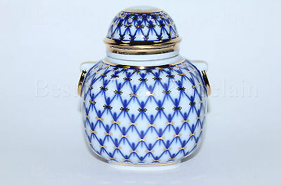Russian Imperial Lomonosov Porcelain Tea Caddy Cobalt Net 22k Gold Rare Russia