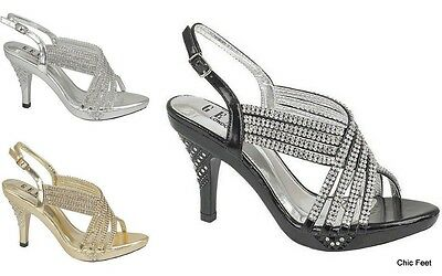 4a5ede57be78 New Party Diamante Evening Wedding Bridal Prom Mid Heel Sandals 3 4 5 6 7 8
