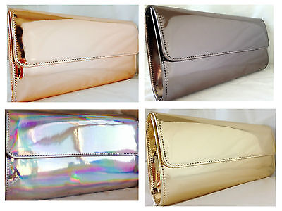 New Hologram Silver Rose Gold Champagne Copper Pewter Grey Evening Clutch Bag