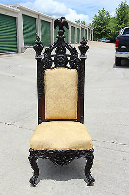 Phenominal Heavily Carved Rosewood Victorian Rococo Throne Chair Winged Phoenix