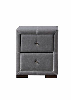 Sorrento 2 drawer nightstand bedside in grey fabric with beautiful handle detail
