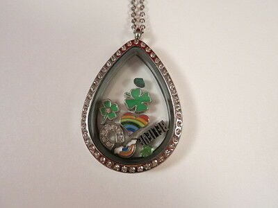 6Clover St Patricks Day Rainbow Living Memory Locket Necklace Floating Charms