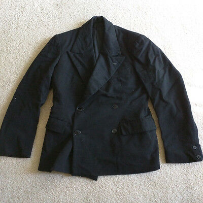 Ca. 1940'S Vintage Men's Double Breasted Suit Jacket Black 36S Short