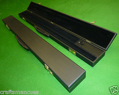 2pc WIDE SNOOKER CUE CASE / POOL CUE CASE - 3 SECTIONS + LARGE CHALK COMPARTMENT