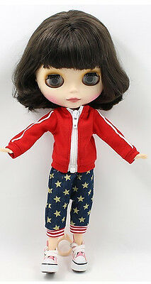 """12""""Neo Blythe Doll Short Brown Hair Matte Face Nude Doll from Factory94001+Gift"""