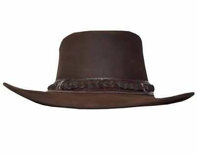 American Style Men's Brown Real Cowboy Western Bush Original Real Leather Hats