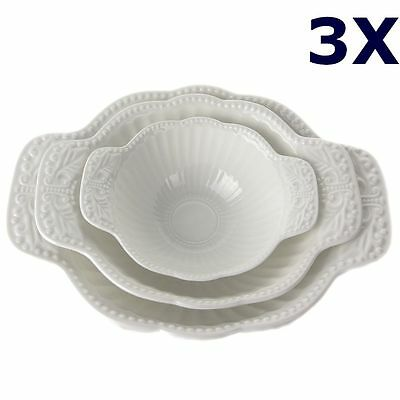 2Set / 6pcs French Vintage Style White Porcelain Snack Salad Bowls with Handles