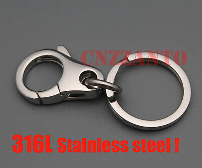 Mirror polish 316L stainless steel keychain holder Ring hook clip lobster clasps