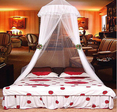 Round Lace Insect Canopy Netting Curtain Bed Outdoor Dome Mosquito Net White