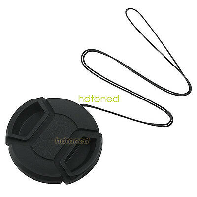 55mm center pinch snap on Front Lens Cap Cover for Canon Nikon Sony with string
