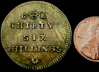R562: Circa 1747 George II Coin Weight for One Joe - 36 shillings