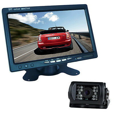 "Car Rear View Kit 7"" LCD Monitor + IR Reversing CCD Camera 18 Led  Night Vision"