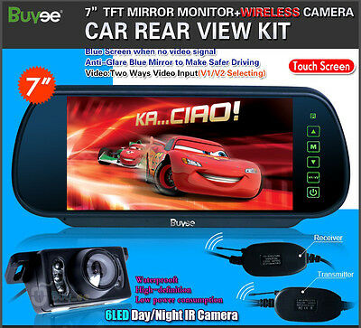 "Wireless 7"" LCD Screen Car Rear View Backup Mirror Monitor + Camera Night Vision"