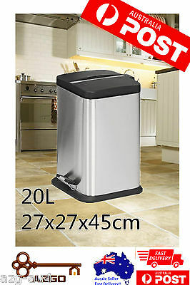 20L Square Stainless Steel Rubbish  Dustbin Garbage Waste Bin for Office Kitchen