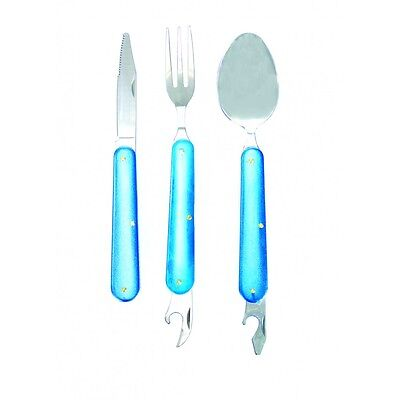 5 Piece Steel Cutlery Set + Can & Bottle Opener Silver/Blue - Yellowstone