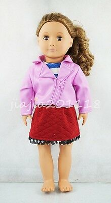 Pink Leather Clothing Red Dress Skirt Shirt For 18'' American Girl Doll Clothes