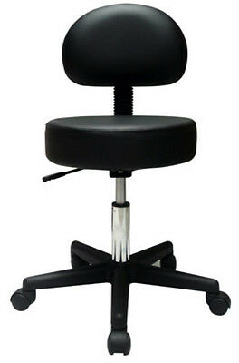 Physician's Pneumatic Stool w/ Back-Black