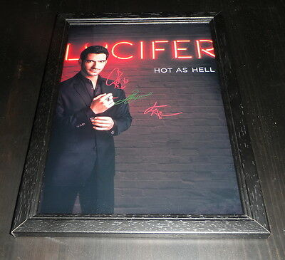 "Lucifer Castx3 Signed Framed A4 12""x8"" Photo Poster Tom Ellis Lauren German"