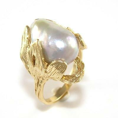14K Yellow Gold White Pearl Dome Leaf Ring Size 7 QZ