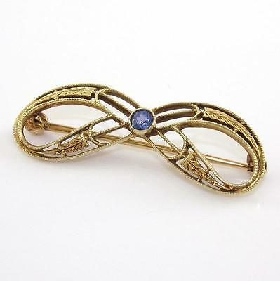 Vintage Antique 14K Yellow Gold Purple Sapphire Bow Pin Brooch QZ