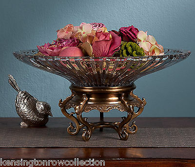 "Bowls - ""wellington Manor"" Crystal Bowl On Brass Stand - Centerpiece Bowl"