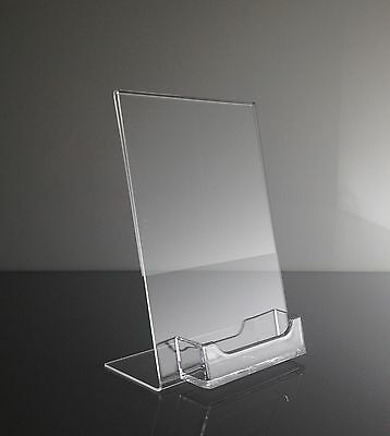 "(12) 5"" x 7"" Acrylic Sign Display / Picture Frame with Business Card Holder"