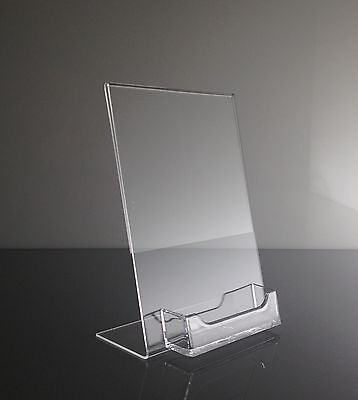 "10  5"" x 7"" Acrylic Sign Display / Picture Frame with Business Card Holder"