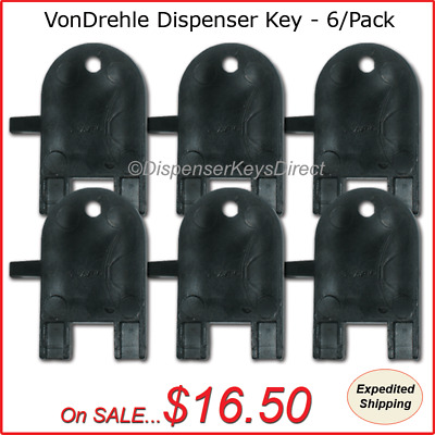 VonDrehle Dispenser Key for Paper Towel, Toilet Tissue Dispensers - (6/pk.)