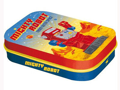 Retro Tin Metal Pill Box 'MIGHTY ROBOT' filled with Mints 6x4cm from Outer Space