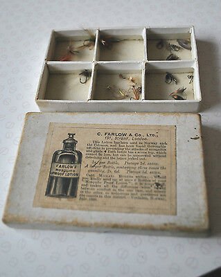 Scarce Late Victorian Vintage C Farlow Card Advertising Fly Box With A Few Flies