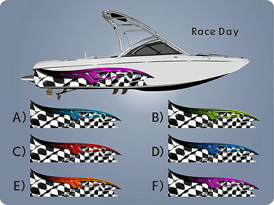 Race Day - Tribal Checkered Racing Flag * Boat Half Wrap Graphic - Custom Decal