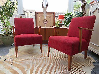 PAIR OF RED EAST GERMAN / DANISH STYLE COCKTAIL LOUNGE ARMCHAIRS C1965 My16/68