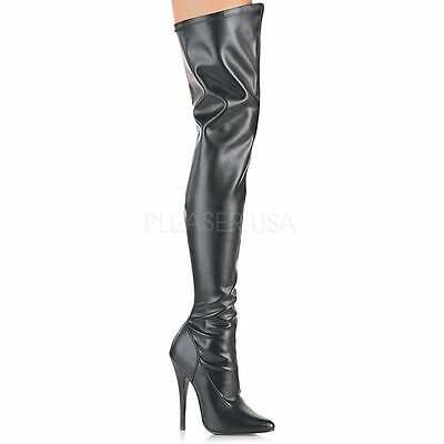 DEVIOUS Domina-3000 Stiefel Overknee Schwarz Lack Stretch Tabledance Poledance