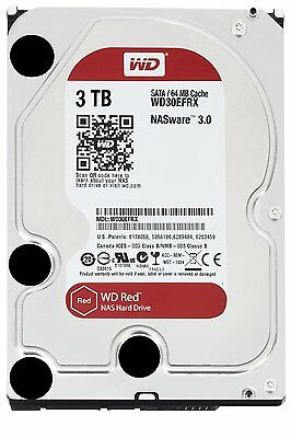 HARD DISK 3,5 WESTERN DIGITAL RED 3TB SATA3 5400rpm 64MB 3000GB WD30EFRX PER NAS