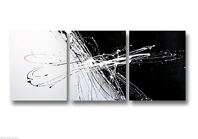 3 ABSTRACT CANVAS PAINTING black and white. Modern wall art artwork Australia