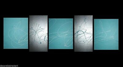 ABSTRACT CANVAS PAINTING turquoise silver Australia