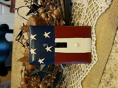 Primitive Crackle Painted Switch Plates Lot of 5 Country Decor flag American