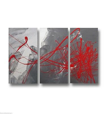 3 ABSTRACT CANVAS PAINTING grey red. Modern wall art artwork Australia