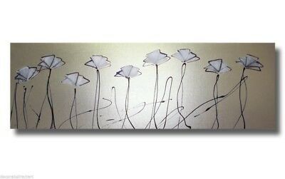 ABSTRACT CANVAS PAINTING silver poppies. Modern wall art artwork Australia