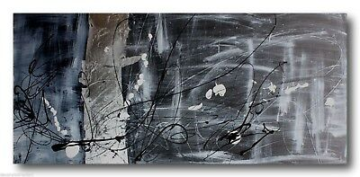 HUGE ABSTRACT CANVAS PAINTING WALL ART black white silver Australia
