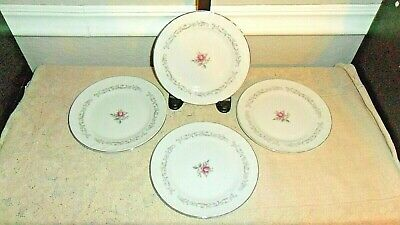 4 Fine China Of Japan Royal Swirl 6 3/8 Inch Bread Plates Pink Rose Flowers