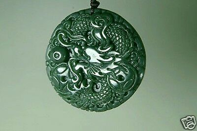 Hand-carved natural green hetian nephrite jade carving dragon jade pendant