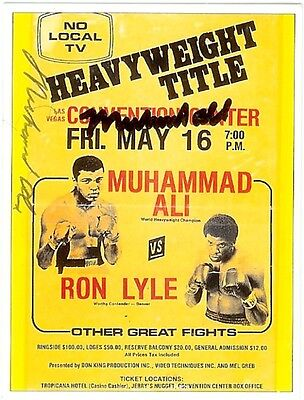 Muhammad Ali Dual Signed Sporting Profiles Program Cover Trading Card 2 Auto SSP